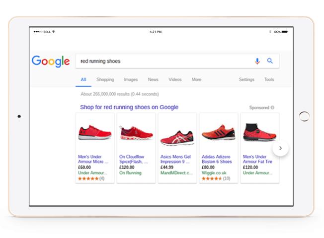 google shopping ecommerce screen